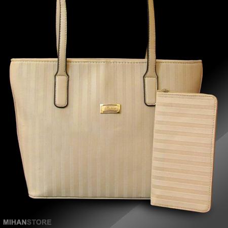 ست کیف دستی و کیف پول زنانه Cream