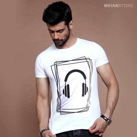 خریدتی شرت مردانه طرح هدفون (سفید)