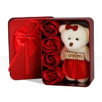 پکیج کادویی خرس و گل عطری طرح Love